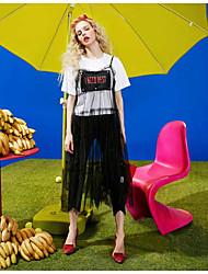 Damen Muster Zitate & Sprüche Einfach Alltag Normal T-shirt,Rundhalsausschnitt Kurzarm Baumwolle Viskose