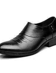 Для женщин Туфли на шнуровке Формальная обувь Кожа Весна Осень Черный 4,5 - 7 см