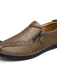 Для мужчин обувь Наппа Leather Весна Осень Удобная обувь Мокасины и Свитер Молнии Назначение Повседневные Серый Коричневый Хаки