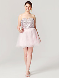 A-Line Sweetheart Short / Mini Tulle Sequined Cocktail Party Homecoming Dress with Sequins Pleats