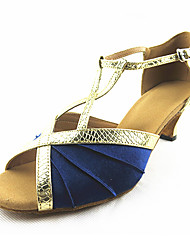 Damen Latin Leder Sandalen Sneakers Professionell Verschlussschnalle Stöckelabsatz Blau Maßfertigung