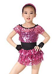MiDee Dresses Performance Spandex / Paillettes / Sequins / Tassel(s) / Tiers 1 Piece Ballet Short Sleeve Natural Dress