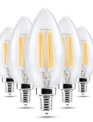 4W Luzes de LED em Vela C35 4 COB 300-400 lm Branco Quente Branco Frio Regulável Decorativa AC 220-240 V 5 pçs