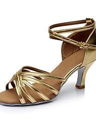 Women's Latin Leatherette Sandals Indoor Customized Heel Gold Customizable