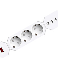 USB Interface Power Plug Intelligent Lightning Protection  Power Scoket  EU Plug 3 Ports and 3Outlets