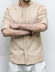 Masculino Camisa Social Casual Trabalho Simples Sólido Algodão Linho Outros Colarinho Chinês Manga Longa