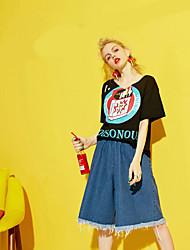 Feminino Simples Cintura Média Inelástico Solto Jeans Calças,Solto Sólido