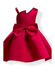 Девичий Платье Хлопок Мода Однотонные Бант Все сезоны Без рукавов