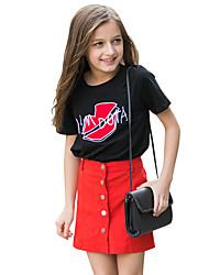 T-shirt Da ragazza Cotone Con ricami Estate Manica corta Standard