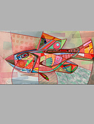 IARTS® Hand Painted Modern Abstract Magic Fish Display Oil Painting On Canvas with Stretched Frame Wall Art For Home Decoration Ready To Hang