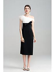 Gaine Robe Femme Soirée Sortie simple Sophistiqué,Couleur Pleine Une Epaule Midi Sans Manches Polyester Spandex Eté Taille Haute