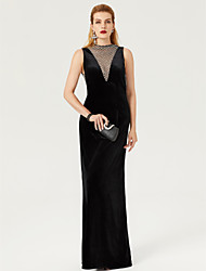 Sheath / Column High Neck Floor Length Velvet Formal Evening Dress with Lace by TS Couture®
