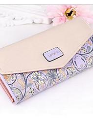 Women Checkbook Wallet PU All Seasons Casual Rectangle Magnetic Light Purple Cyan Pale Blue