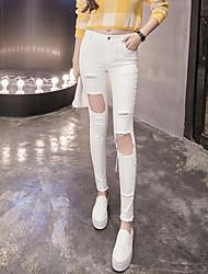 Women's High Waist Micro-elastic Jeans Pants,Simple Slim Solid