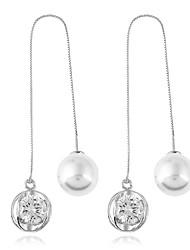 Жен. Серьги-слезки Серьги-кольца В виде подвески Двойной Pearl Стразы Металл Геометрической формы Бижутерия НазначениеОдноместный