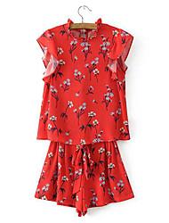 Feminino Camisa Calça Conjuntos Casual Simples Casual Verão,Estampado Colarinho Chinês Sem Manga