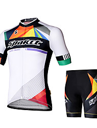 Cycling Jersey with Shorts Men's Men Short Sleeve Bike Shorts Jersey Clothing SuitsCycling Low Windage Quik Dry Reflective Strip High