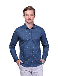Men's New Fashion Printed Slim Fit Office Casual Long Sleeve Shirt/ Cotton /Plus Size /Business