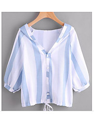 Women's Casual/Daily Simple Shirt,Striped Hooded ¾ Sleeve Terylene