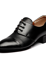 Men's Latin Real Leather Heels Professional Black