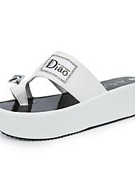 Для женщин Сандалии Удобная обувь Полиуретан Весна Лето Повседневные Для праздника Удобная обувь На толстом каблуке Белый Черный2,5 - 4,5