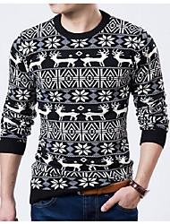 Для мужчин Повседневные Шинуазери (китайский стиль) Обычный Пуловер С животными принтами,Круглый вырез Длинный рукав Смесь хлопка Зима