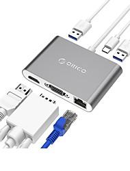 Orico ads2 hub usb 3.0 2 portas 5.0gbps led tipo-c com 0.15m cabo com pd carregador hdmi vga porta de rede