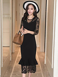 Women's Going out Lace Dress,Solid Round Neck Midi 3/4 Length Sleeve Lace Spring Mid Rise Micro-elastic Medium