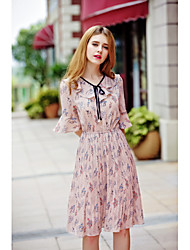 KANF Women's Going out Casual/Daily Simple Cute A Line Chiffon DressFloral V Neck Knee-length Half Sleeve Polyester Spring Summer High Rise