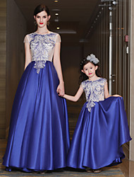 Rehearsal Dinner Formal Evening Dress - Mini Me Lace-up A-line Jewel Sweep / Brush Train Satin Tulle Mikado withBeading Lace Pockets