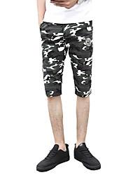 Masculino Simples Cintura Média Micro-Elástica Chinos Shorts Calças,Delgado Sólido