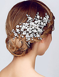 Silver Flower Shape Crystal Headpiece-Wedding Special Occasion Headbands Crown Head Chain 1 Piece