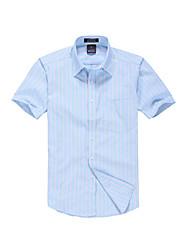 Camicia Da uomo Casual Ufficio Semplice Per tutte le stagioni Estate,A strisce Colletto Cotone Poliestere Manica corta Medio spessore