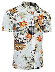 Для мужчин На выход На каждый день Для клуба Все сезоны Лето Рубашка Воротник-стойка,Простое Активный Панк & Готика Полосы / волосыС
