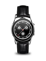 Femme Homme Smart Watch Numérique Cuir Bande Noir