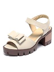 Damen Sandalen Pumps PU Sommer Normal Kleid Pumps Schleife Blockabsatz Beige Farbbildschirm Burgund 2,5 - 4,5 cm