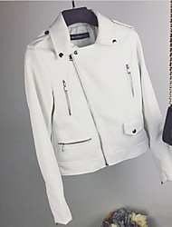 Women's Daily Modern/Comtemporary Spring Leather Jacket,Solid Shirt Collar Long Sleeve Short Others