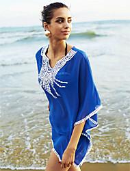 Women's Halter One-pieces / Cover-Ups,Tassels / Solid Wireless / Padless Bra Chiffon White / Blue