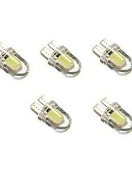 1w dc12v blanc t10 2cob éclairage décoratif lampe de lecture plaque d'immatriculation porte lampe 5pcs