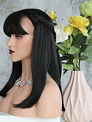 Kinky Straight Middle Part Synthetic Lace Front Wigs With Bang For Women Heat Resistant Lace Front Realistic Wigs In 1b