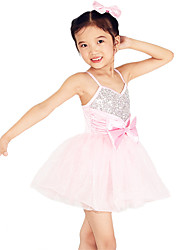 MiDee Dresses Performance Spandex /Tulle Bow(s) / Paillettes / Sash/Ribbon / Sequins 1 Piece Ballet Sleeveless High