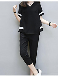 Women's Other Casual Casual/Daily Spring Summer Blouse Pant Suits,Solid Color Block V Neck Short Sleeve