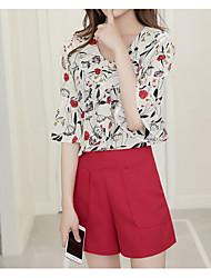 Для женщин На выход Лето Блузка Брюки Костюмы V-образный вырез,Простой Цветочный принт С короткими рукавами