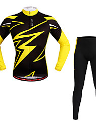 WOSAWE Cycling Jersey with Tights Unisex Long Sleeves Bike Clothing Suits Moisture Wicking Quik Dry Reflective Strips Spandex Polyester