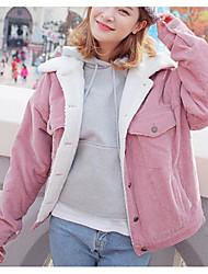 Пальто Простое Обычная На подкладке Для женщин,Однотонный Повседневные Другое Шерсть,Длинный рукав
