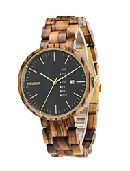 REDEAR®Men's Wood Watch Japanese Quartz Wooden Wood Band Luxury Elegant Brown Khaki