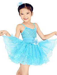 MiDee Kids' Dancewear Dresses Children's Training Spandex Sequined Tulle Flower(s) Sequins Sleeveless Natural