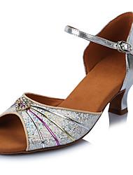 2017 Classic Brand Modern Latin Sandals Customizable Women's Dance Shoes  Heeled 6.5CM shoes Glitter Silver
