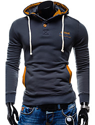 Men Sports Evening Party Contemporary Hoodie Solid Hooded strenchy Cotton Long Sleeve Fall Winter