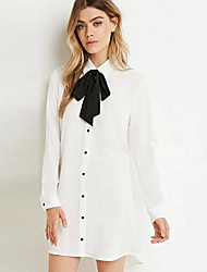Women's Casual/Daily Shirt Dress,Solid Shirt Collar Above Knee Long Sleeve Cotton Summer Mid Rise Micro-elastic Opaque